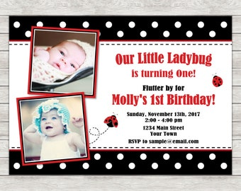 Ladybug 1st Birthday Invitation, Ladybug Birthday Invitation - Digital File (Printing Services Available)