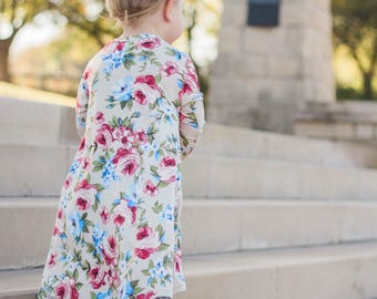 Mauve and blue floral dress READY TO SHIP for baby and toddler girls, high low hem, twirl dress