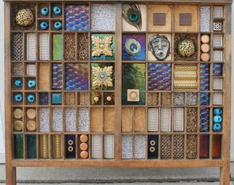 Mixed media wooden printer drawer/tray collage