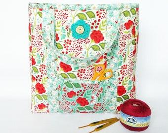 Handmade knitting Bag, knitting tote, project bag, craft bag, crochet bag, craft storage, knitting organiser, yarn bag, tote, Moda, blue