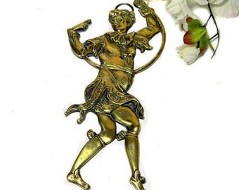 Georgian Gilt Bronze Decorative Harlequin Morris Dancer Architectural Mount