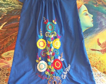 PLUS SIZE, Mexican, Dress, Blue, Embroidered, Costa Rica, 2X