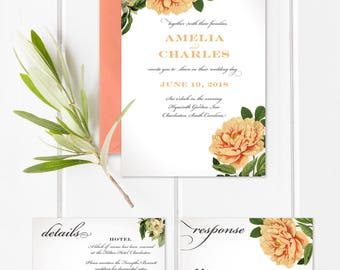 Vintage Botanical Wedding Invitation Suite