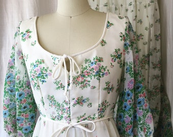 1960's MAXI dresses / House of Bianchi / Size 10 and 12 Floral Sheer Dress / Romantic Boho Bridesmaid Dress, Hippie Dress, Authentic Vintage