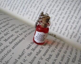 Love Potion 1ml Glass Bottle Necklace Charm -  Cork Vial Pendant - Potion of Love Valentine's Day Love