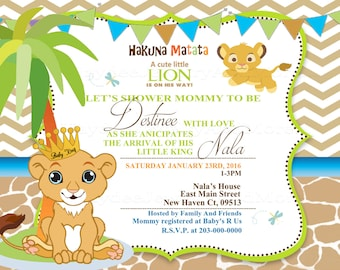 Personalized printed lion king baby shower custom candle lion king baby shower invitation nala lion king filmwisefo Choice Image