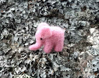 miniature pink elephant, needle felted elephant, micro elephant, wool felting, doll house miniature, fairy garden, tiny elephant, cute
