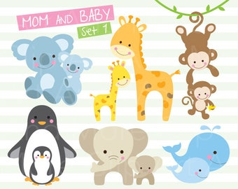Mom and Baby Clipart Mama and Baby Animal Clipart Mother and