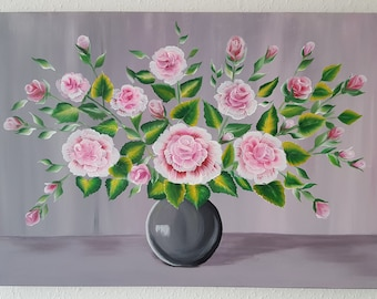 Roses in a vase painting. Large, Flowers in a vase painting. Large painting, original. Acrylic. Canvas.