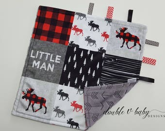 Boy Tag Blanket Personalized with Little Man Moose in Red Black and Gray