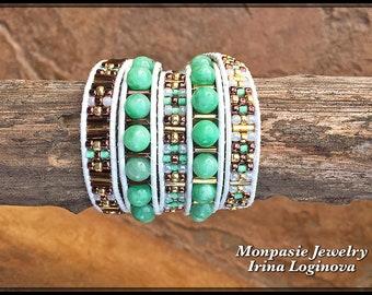 Aventurine 5x Wrap Leather Bracelet - Beaded Wrap Leather Bracelet - Casual Wrap Bracelet - Boho Bracelet