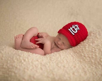 Baby Boy Red St. Louis Cardinals Inspired Hat & Diaper Cover Set / Newborn Photo Prop / Sizes Newborn - 12 Months **MADE TO ORDER**