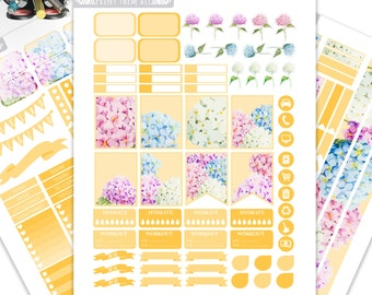 Hydrangea Planner Stickers Printable for ERIN CONDREN LIFEPLANNER™, Monthly / Weekly Kit, Printable Sampler, Erin Condren, Instant download