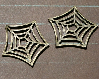 Pair 2 Pcs Antique Brass Spider Web Charms Spiderman Gothic Goth Halloween Spooky Embellishments Vampy Vampire Autumn Fall Cobweb Metal Cool