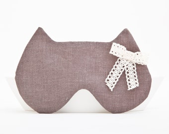 Linen Sleep Mask, Cat Lover Gift, Vacation Accessories, Girlfriend Gift, Linen Blindfold, Christmas Gifts for Friends, Eye Cover, Eye Mask