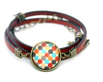 "Red cabochon MULTISTRAND leather bracelet ""red, Brown, orange dots: fall dots"""