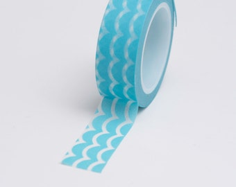 Washi Tape - 15mm - White Waves on Blue - Deco Paper Tape No. 747