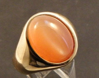 AAA Natural Peach Cats Eye Moonstone   16x12mm  7.81 Carats   in Heavy 14K gold Mens ring 20 grams C1612 1460