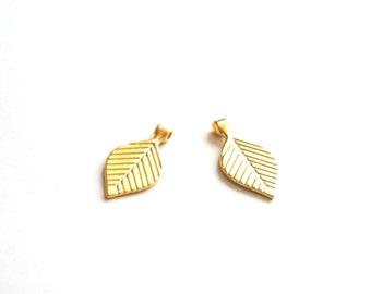2pcs Matte 22K Gold Plated Base Leaf Charms -LEAF 30x15mm-(012-009GP)