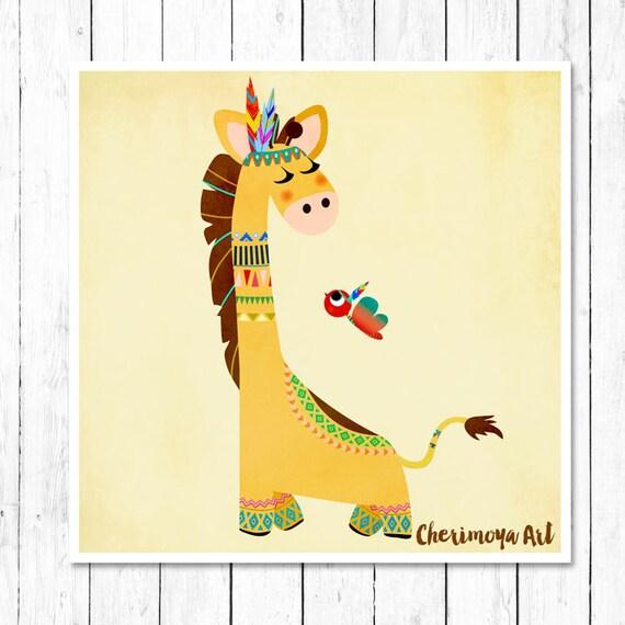 Yellow Giraffe Print Safari Childrens Wall Art Nursery Wall
