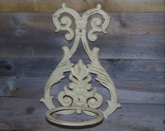 "12.5""L  Off White Cast Iron Plant Holder / Wall Hanging Flower Pot Holder / Indoor Outdoor Plant Stand / Shabby Chic / French Country"