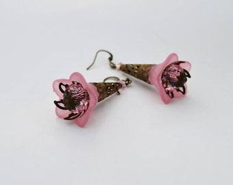 SALE-Pink Rose Bell Flower Earrings, Vintage Inspired Pink Rose Lucite Flower Earrings