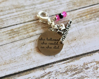 Gymnast, She Believed So She Did Gymnast Gift, inspirational kids gift, Personalized Gift, Custom Charm, Motivational Gift, Inspirational Gi