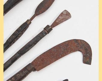 TRIBAL TOOLS - Aged Wood and Iron Tool set, From Mali, West Africa