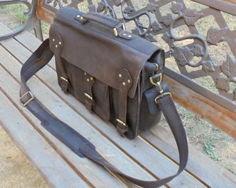 """Rugged Leather Briefcase Satchel Messenger Laptop Bag Large 15"""" inches"""