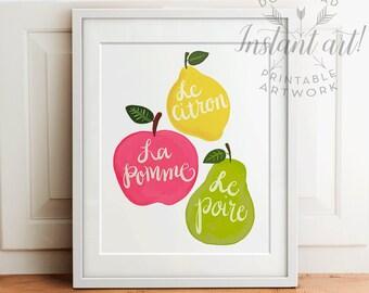 Les Fruits - PRINTABLE kitchen art, dining room wall decor, nursery printable,apple, lemon, pear print,printable decor,printable women gift