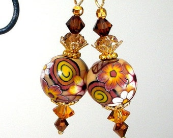 Topaz brown earrings, floral artisan polymer clay