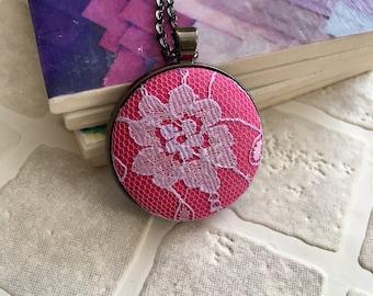 Fabric button pendant | Necklace | Button pendant | Button necklace | covered button | lilac lace fabric  pink fabric Ready to ship