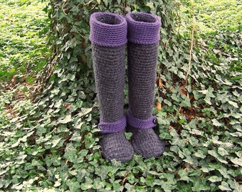 Crochet Boots, Tall Boots, 20 to 25 inches, Custom Made, Your Choice of Colors, Boots