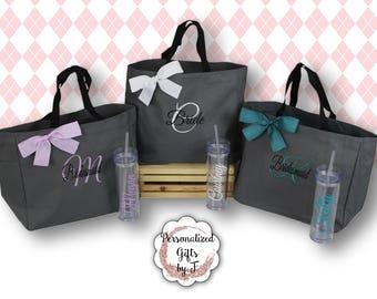 4 Totes and Tumblers, Bridesmaid Gifts, Bridesmaid Bags, Skinny Tumblers, Bridesmaids Totes and Tumbler Set, Bridal Party Gift, Wedding Bag