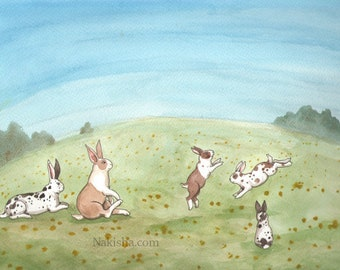 RESERVED for LS - Original Art - Spring Family - Watercolor Rabbit Painting