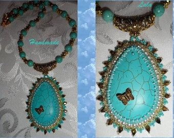 """Bead Embroidery Pendant Necklace with turquoise cabochon  """"Oriental motives"""""""