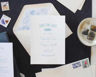 Print-It-Yourself Elegant Powder Blue Save the Date cards, Pantone Serenity Wedding Save the dates, Vintage Wedding -- Charlotte