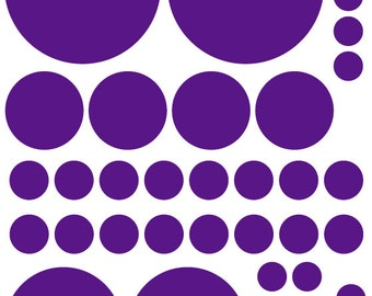 70 Dark Purple Vinyl Polka Dots Bedroom Wall Decals Stickers Teen Kids Baby Girl Nursery Dorm Room Removable Custom Made Easy to Install