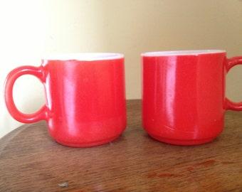 Vintage Pair of Red Textured Milk Glass Coffee Mugs
