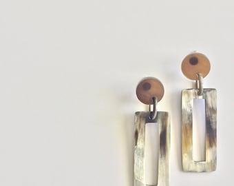 Rectangle Horn Earrings