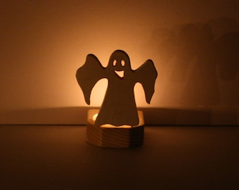 Halloween Candle Holder, Halloween Ghost Candle Holder, Wooden Cutout Nightlight, Spooky White Halloween Decor