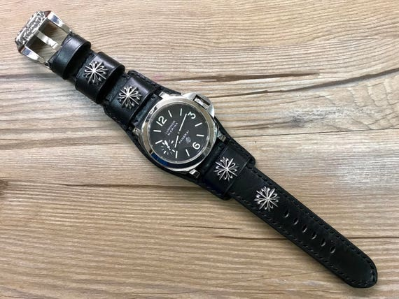 Leather Watch band, Full bund strap, Cuff Strap, Leather watch strap, Cuff Watch band, Black, 24mm, Cuff band, FREE SHIPPING