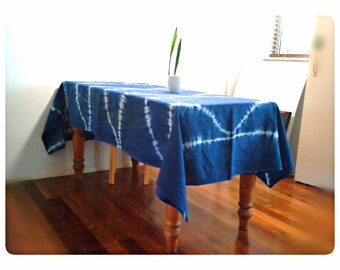 Shibori 'Fish Scale' Linen Tablecloth