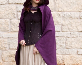 Purple Rogue Cape - Renaissance Clothing - Halloween Costume - Ren Faire Garb - Medieval Clothing - Mens Womens Cloak - Hooded Cape
