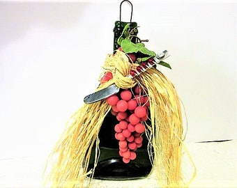 Melted Wine Bottle Slumped Wall Hanging Home Decor or Serving Cheese Bar blm