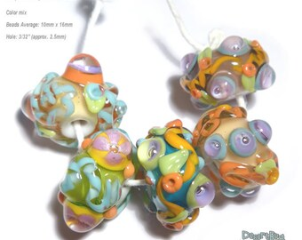 SPUNK ENUF Lampwork Beads Handmade Blue Yellow Melon Purple Lime -  Set of 5