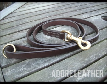 English Leather Dog Leash   Leather Dog Lead   Bridle Leather   Brass Trigger Clip   Hand Loop  