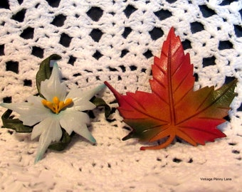 Vintage Tooled Leather Brooches , Handmade Flower / Maple Leaf Pins