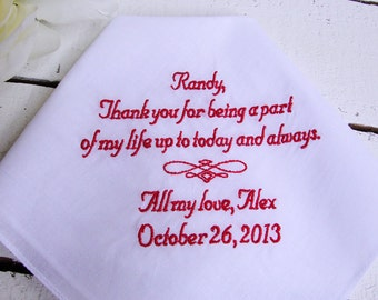 Personalized Step Father of the Bride Keepsake Handkerchief - Men's Handkerchief, Step Dad Gift, Step Parent Gift, Thread Born Memories