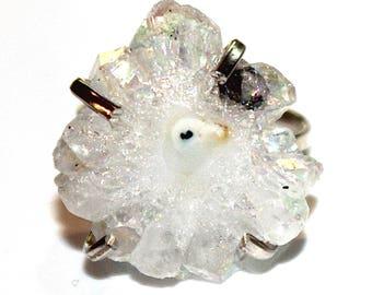 White Stalactite Ring White Ring Silver Ring Adjustable Ring Druzy Ring Drussy Ring Large Ring Quartz Ring Quartz Jewelry